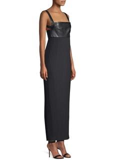 Solace London Elara Leather-Trimmed Column Dress