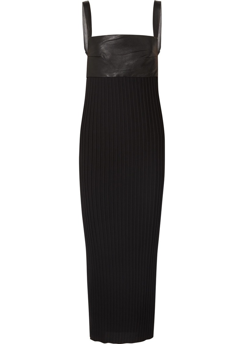 Solace London Elara Stretch-leather And Pleated Crepe Maxi Dress