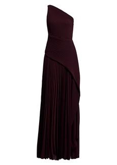 Solace London Emelyne One-Shoulder Pleated Maxi Dress