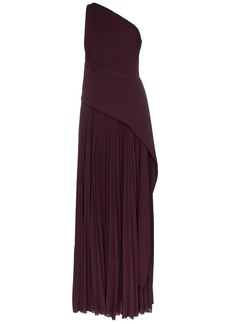 Solace London emelyne pleated chiffon gown