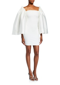 Solace London Linn Voluminous-Sleeve Mini Dress