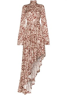 Solace London Marlee patterned asymmetric maxi dress