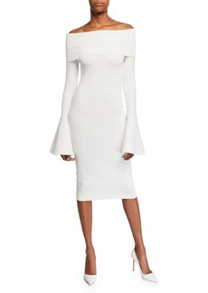 b9885595 Solace London Mori Off-the-Shoulder Long Bell-Sleeve Body-Con Dress