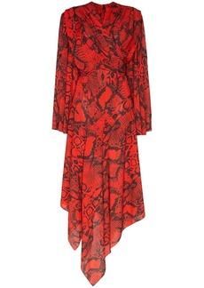 Solace London Nelli snake-print asymmetric dress