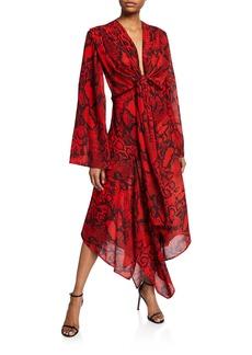 Solace London Nelli Tie-Front Snake-Print Long Dress