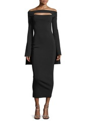 Solace London Off-the-Shoulder Peephole Long-Sleeve Knit Fitted Dress