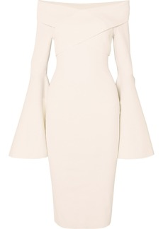 Solace London Ophira Off-the-shoulder Stretch-knit Midi Dress