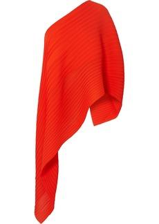 Solace London Sierra One-shoulder Asymmetric Plissé-chiffon Top