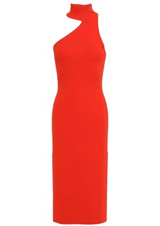 Solace London Woman Annecy Cutout Ponte Dress Red