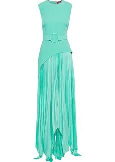 Solace London Woman Belted Crepe-paneled Plissé Satin Maxi Dress Mint