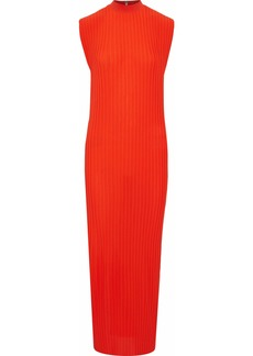 Solace London Woman Arielle Plissé Gauze Maxi Dress Tomato Red