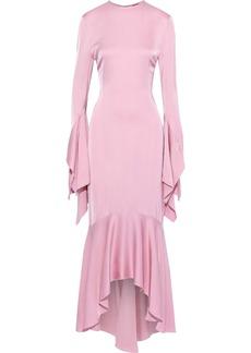 Solace London Woman Asymmetric Satin Dress Baby Pink