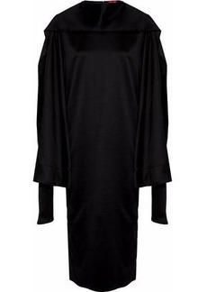 Solace London Woman Aubry Cape-effect Satin Midi Dress Black