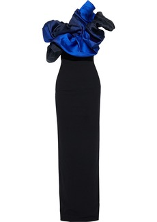 Solace London Woman Cairns Strapless Ruffled Faille-paneled Crepe Gown Black