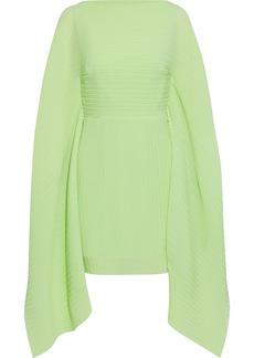 Solace London Woman Chanton Draped Plissé-crepe Mini Dress Light Green