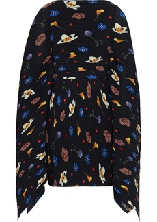 Solace London Woman Chanton Floral-print Plissé-crepe Mini Dress Black
