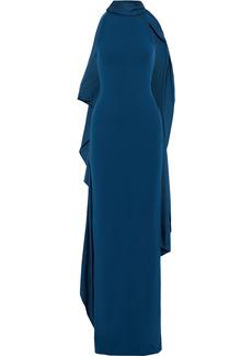 Solace London Woman Dahlia Tie-neck Crepe Halterneck Maxi Dress Teal