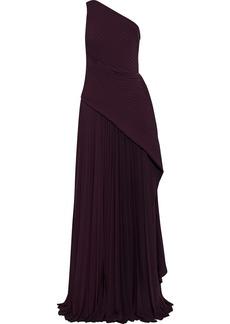 Solace London Woman Emelyne One-shoulder Draped Plissé-crepe Maxi Dress Merlot