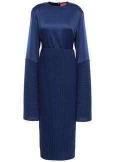 Solace London Woman Emilline Satin And Plissé-crepe Dress Navy