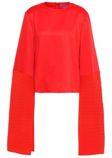 Solace London Woman Evelyn Satin And Plissé-crepe Top Red