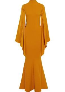 Solace London Woman Fleur Paneled Fluted Crepe Gown Saffron