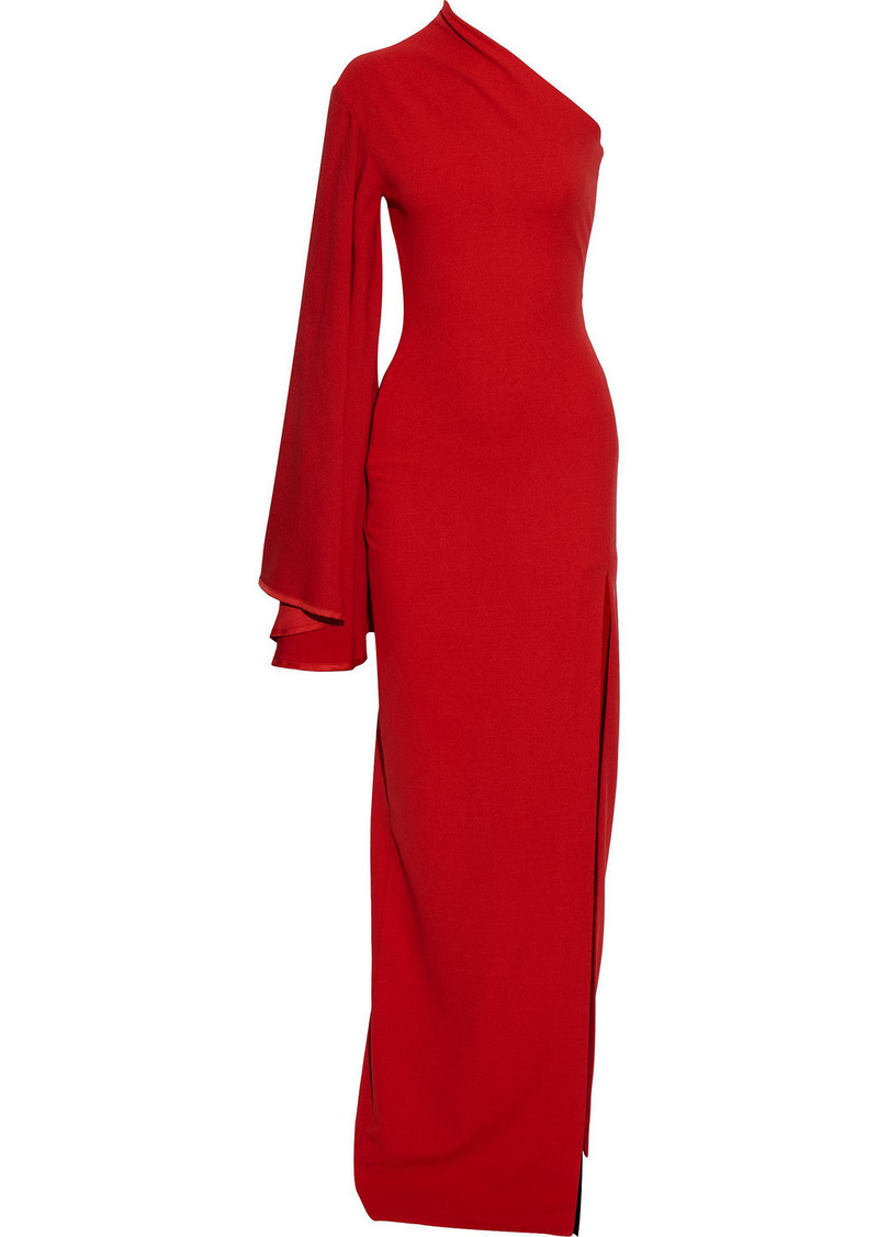 Solace London Woman Lani One-shoulder Crepe And Satin-crepe Gown Red