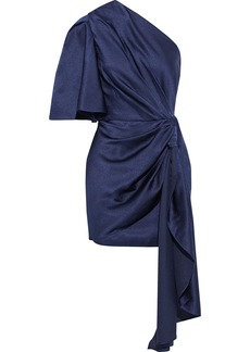 Solace London Woman Marcie One-shoulder Knotted Hammered-satin Mini Dress Navy