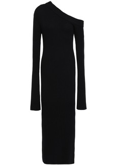 Solace London Woman Off-the-shoulder Ribbed Cotton-blend Midi Dress Black