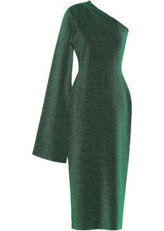 Solace London Woman Reuben One-shoulder Metallic Stretch-knit Midi Dress Emerald