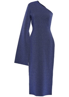 Solace London Woman Reuben One-shoulder Metallic Stretch-knit Midi Dress Indigo