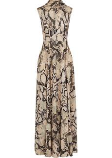 Solace London Woman Rhoda Tie-neck Snake-print Satin Maxi Dress Animal Print