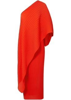 Solace London Woman Sanna One-shoulder Plissé-chiffon Midi Dress Tomato Red