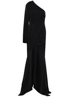 Solace London Woman Savon One-shoulder Silk-blend Satin Gown Black