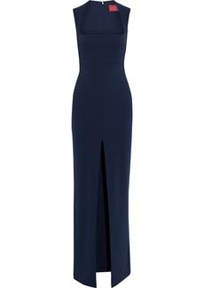 Solace London Woman Sofia Split-front Stretch-crepe Gown Navy