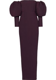 Solace London Woman Tasmin Off-the-shoulder Plissé-crepe Maxi Dress Burgundy