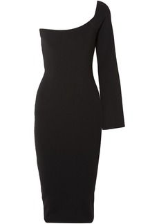 Solace London Woman The Fiorella One-shoulder Stretch-knit Dress Black