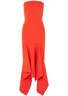 Solace London Woman Veronique Strapless Crepe Midi Dress Papaya
