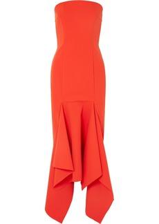 Solace London Veronique Strapless Asymmetric Crepe Midi Dress