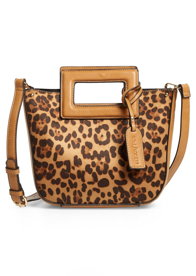 Sole Society Amber Faux Leather Leopard Print Crossbody Tote