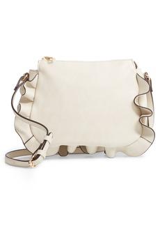 Sole Society Arwen Ruffle Trim Faux Leather Crossbody Bag