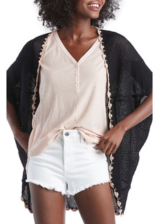 Sole Society Sheer Crochet Trim Cardigan