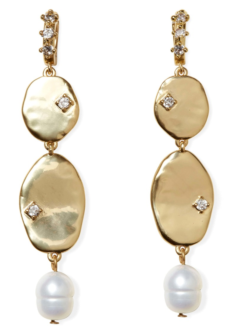 Sole Society Freshwater Pearl & Crystal Linear Drop Earrings