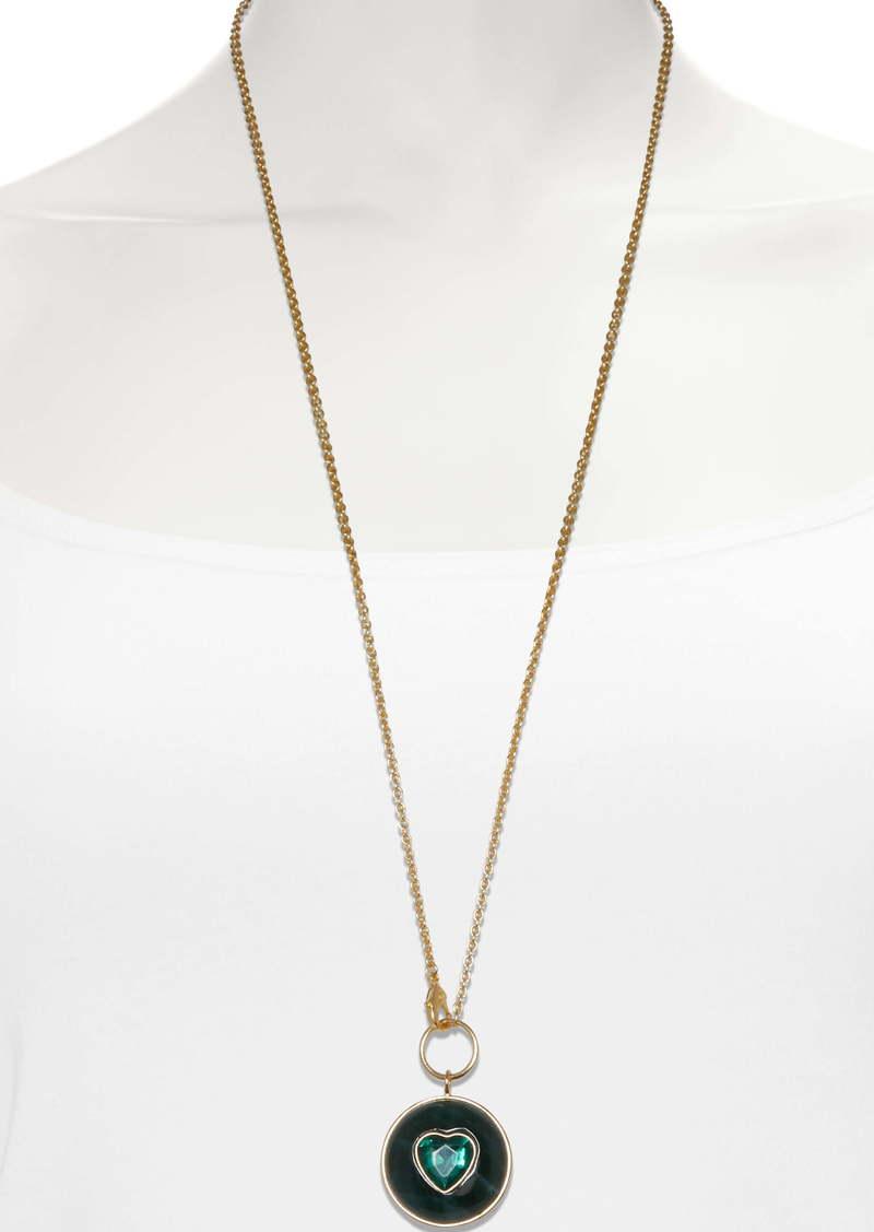 Sole Society Heart Medallion Long Pendant Necklace