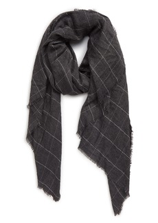 Sole Society Lightweight Check Wool Blend Scarf