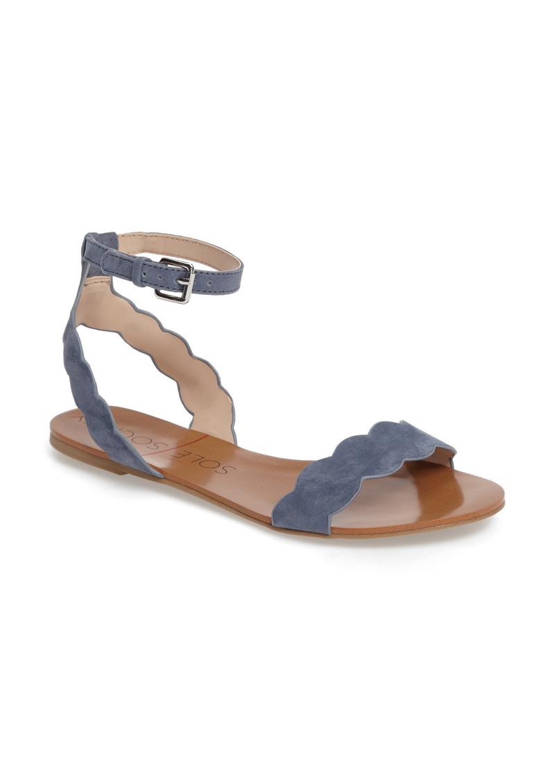 Sole Society 'Odette' Scalloped Ankle Strap Flat Sandal (Women)