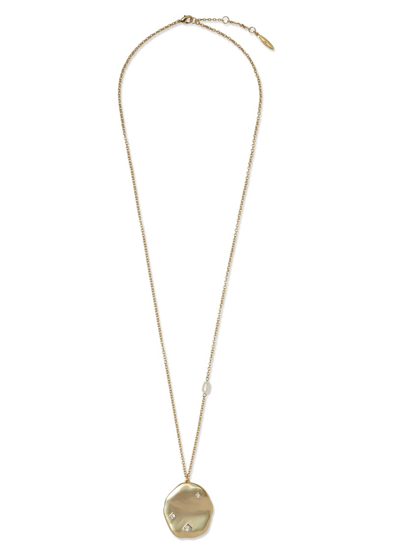 Sole Society Pearl Accent Pendant Necklace