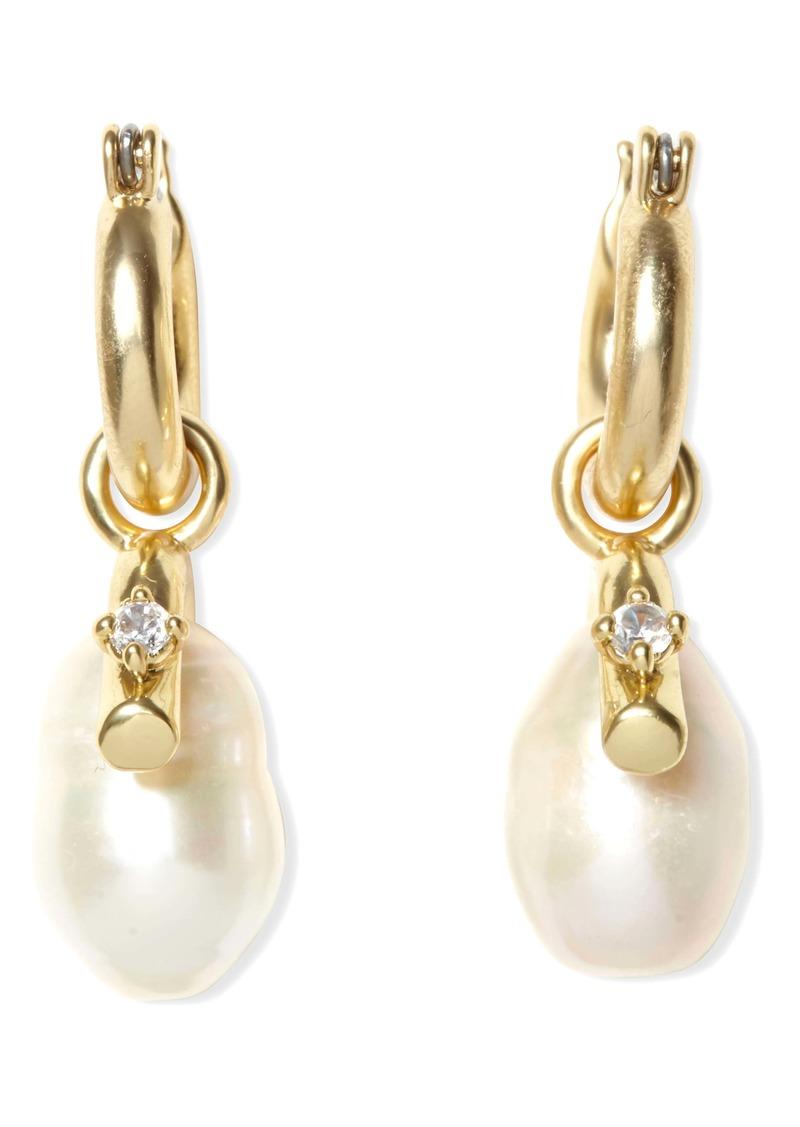 Sole Society Pearl Drop Huggie Earrings