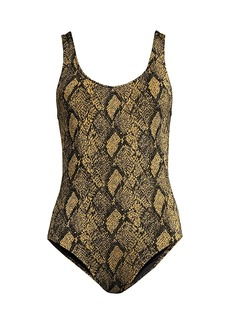 Solid & Striped Anne-Marie Snake-Print One-Piece Swimsuit
