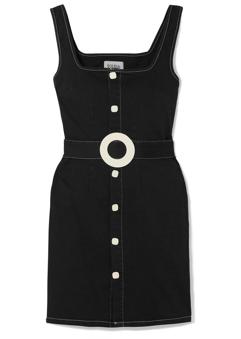 Solid & Striped Belted Cotton-blend Twill Mini Dress