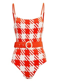 Solid & Striped Nina Belted Gingham One Piece Swimsuit